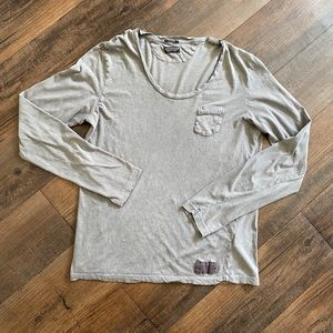 ALLSAINTS Medium Brown L/S Scoop Long Sleeve Tee